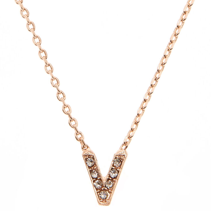"Rose Gold Studded ""V"" Initial Necklace,"