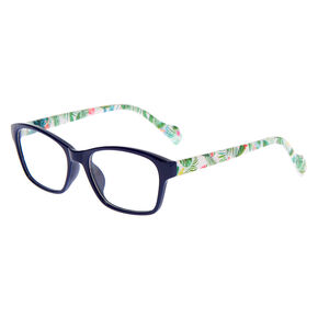 Palm Leaf Rectangle Clear Lens Frames - Navy,