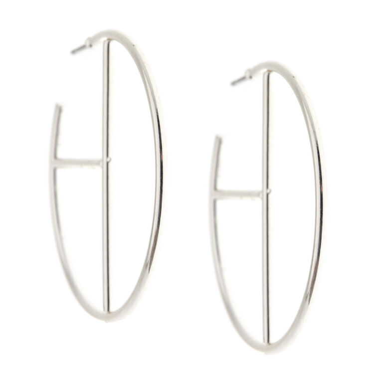 40MM Silver Tone Geometric Hoop Earrings,
