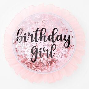 Birthday Girl Sequin Button - Pink,