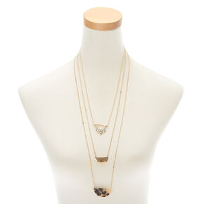 Gold Tortoiseshell Multi Strand Necklace - Brown,