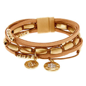 Gold Boho Chic Wrap Bracelet - Brown,