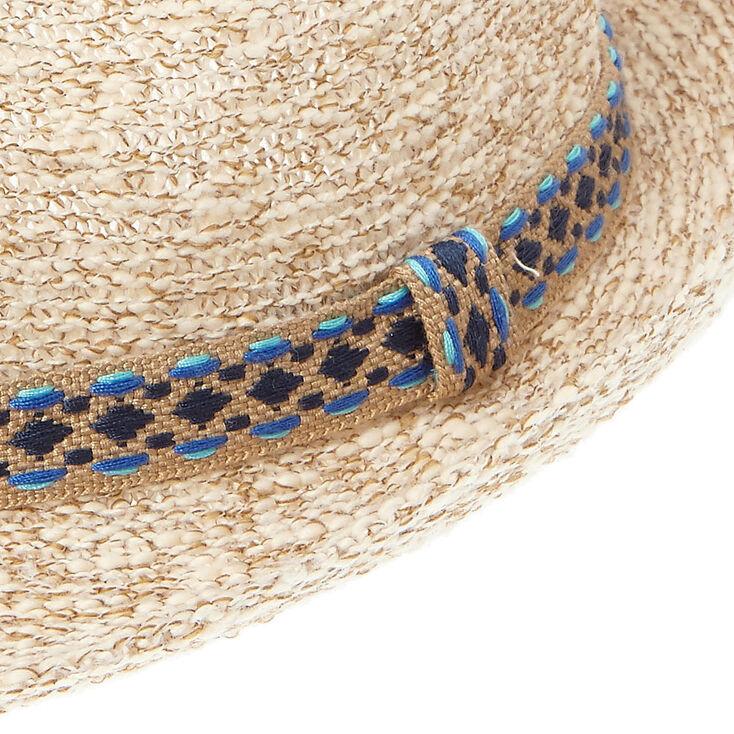 Slub Knit Aztec Print Trim Fedora,
