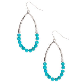 "Silver 2"" Beaded Drop Earrings - Turquoise,"