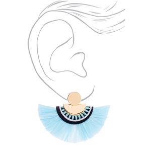 """Gold 2"""" Raffia Drop Earrings - Blue,"""