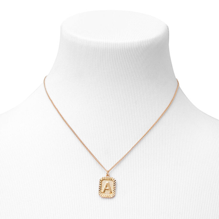 Gold Initial Rectangle Medallion Pendant Necklace - A,
