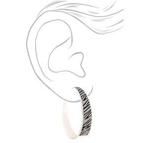 Silver 60MM Glitter Zebra Hoop Earrings,