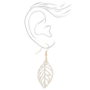"Gold 1.5"" Ivy Leaf Drop Earrings - White,"