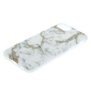 White & Gold Marble Protective Phone Case - Fits iPhone 6/7/8/SE,