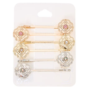 Mixed Metal Floral Medallion Bobby Pins,