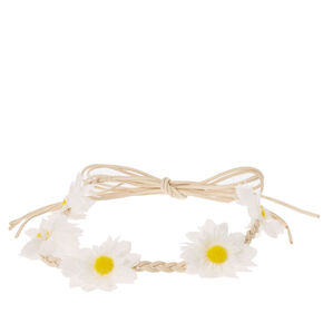 Braided White Flower Crown,
