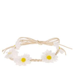 Braided White Flower Crown,