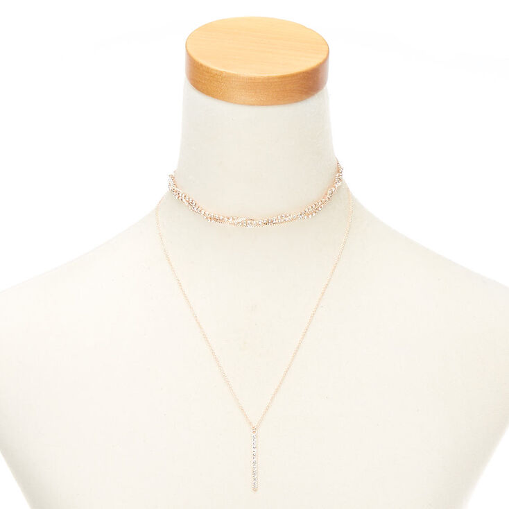 Rose Gold Glass Rhinestone Multi Strand Necklace,