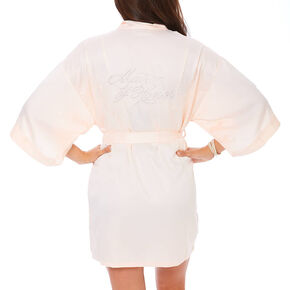 Light Pink Satin & Crystal Matron of Honor Robe,