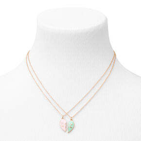 Big & Lil Sis Pink & Mint Heart Pendant Necklaces - 2 Pack,