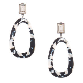 "3"" Black & White Resin Mod Drop Earrings,"
