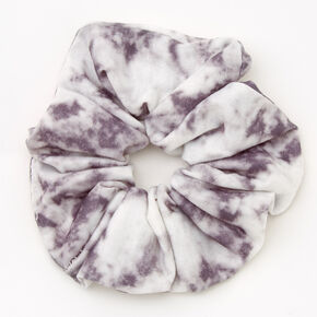 Medium Gray & White Tie Dye Hair Scrunchie,