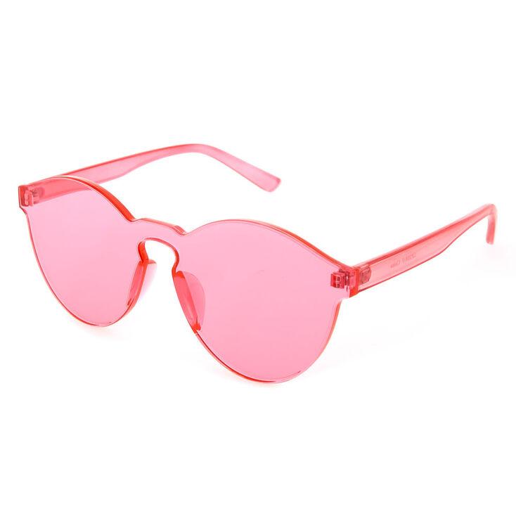 Rimless Pink Tinted Transparent Sunglasses,