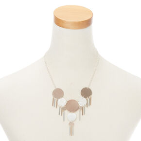 Mixed Metal Disk Statement Necklace,