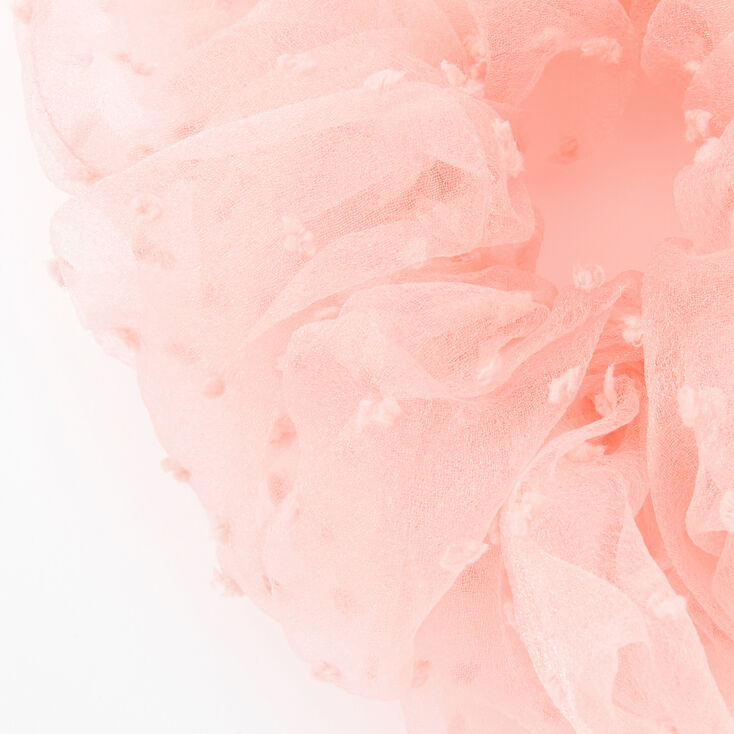 Giant Swiss Dot Sheer Hair Scrunchie - Blush Pink,