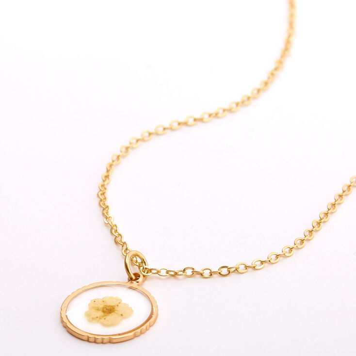 Gold Pressed Flower Pendant Necklace - Yellow,