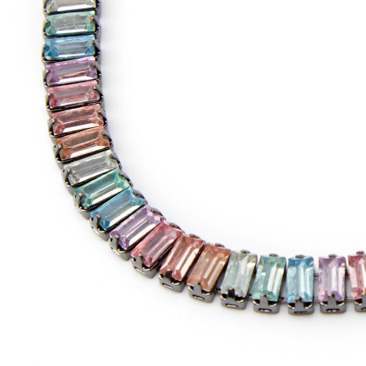 Hematite Rectangle Rainbow Bar Adjustable Chain Bracelet,