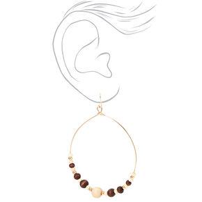 "Gold 3"" Wooden Beaded Hoop Drop Earrings,"