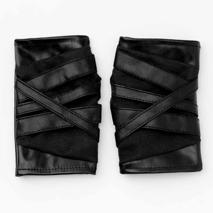 Wrap-Look Faux Leather Fingerless Gloves - Black,