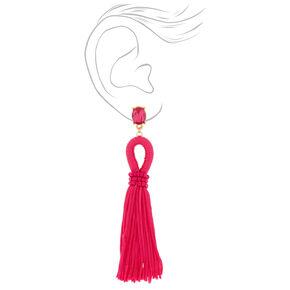 """4"""" Looped Tassel Drop Earrings - Hot Pink,"""
