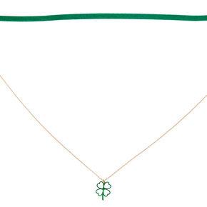 Rose Gold Shamrock Choker Necklace Set,