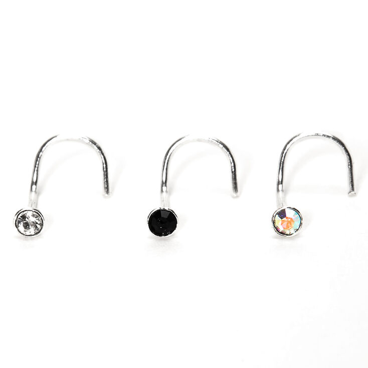 Sterling Silver 22G Mixed Stone Nose Rings - 3 Pack,
