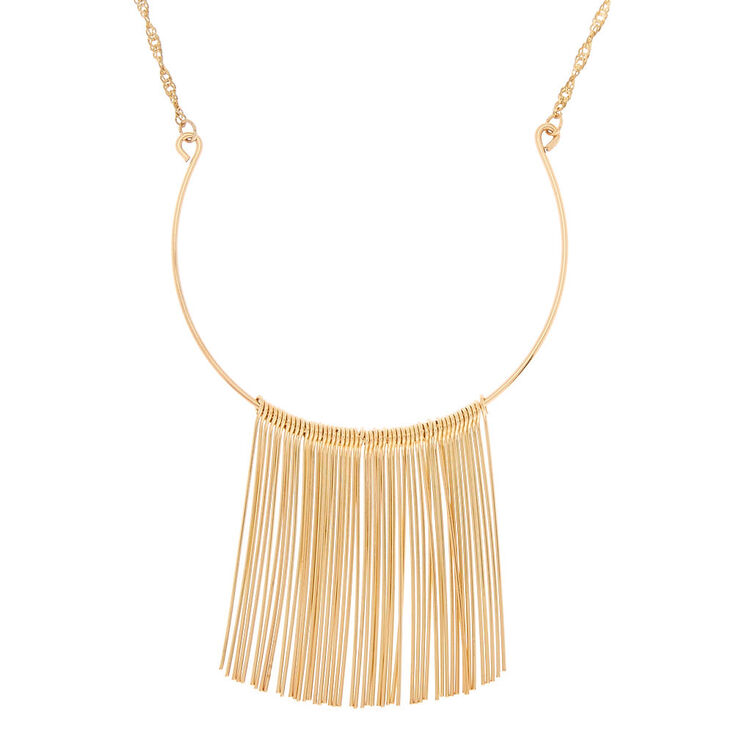 Gold Needle Long Necklace,