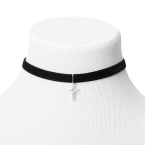 Silver Cross Velvet Choker Necklace - Black,
