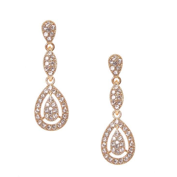 Gold Pavé Rhinestone Framed Teardrop Drop Earrings,