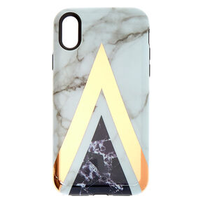 Geometric Marbled Protective Phone Case - Fits iPhone XR,