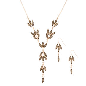 Rose Gold Leaf Jewelry Set - Gray, 2 Pack,