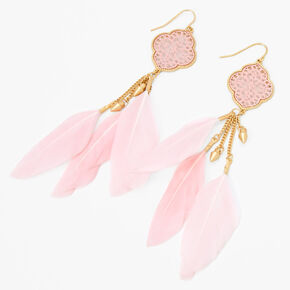 """Gold 5"""" Medallion Feather Drop Earrings - Pink,"""