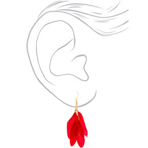 "Gold 3.5"" Chain Feather Drop Earrings - Red,"