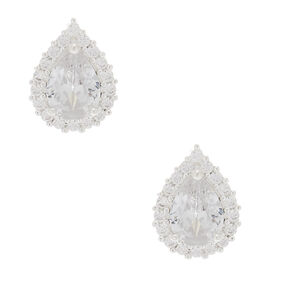 Silver Cubic Zirconia 6MM Teardrop Stud Earrings,