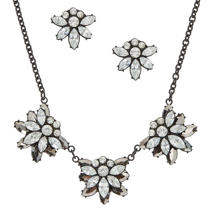 Flower Stone Earrings & Necklace Set,