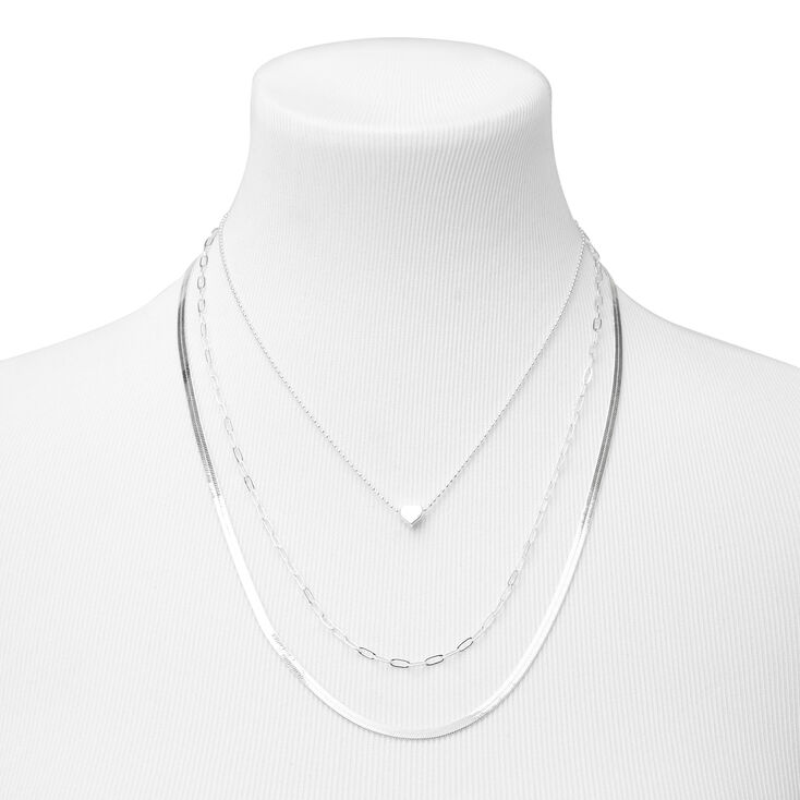Silver Heart Chain Mixed Multi Strand Necklace,
