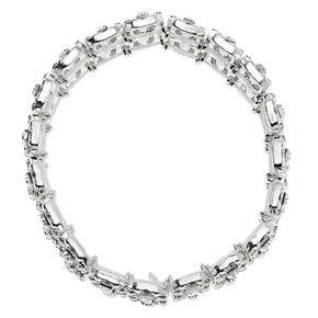 Silver Rhinestone Double Row Stretch Bracelet,