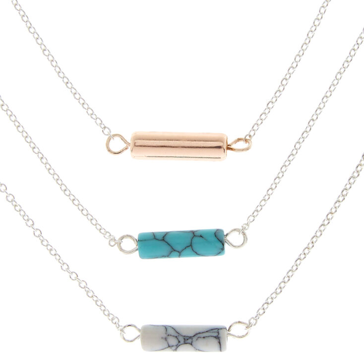 3 Pack Marble Stone Pendant Necklaces,