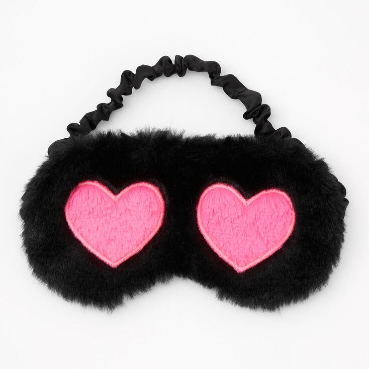 Pink Hearts Furry Sleeping Mask - Black,