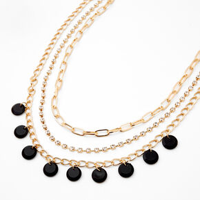 Gold Disc Rhinestone Chain Multi Strand Necklace - Black,