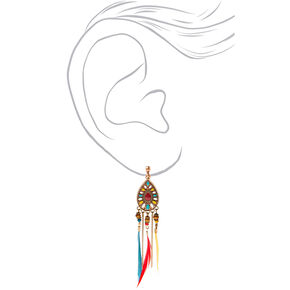 """Gold 4"""" Feather Clip On Drop Earrings,"""