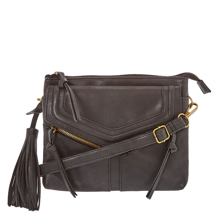 Black Faux Leather Crossbody Envelope Bag,