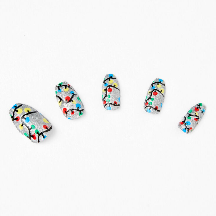Holiday Lights Coffin Press On Faux Nail Set - 24 Pack,