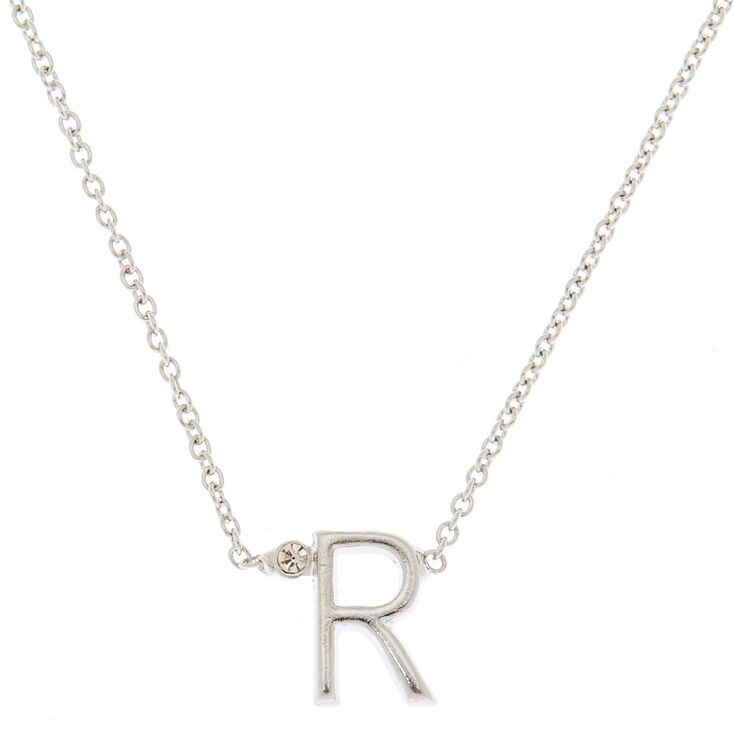 Silver Initial Necklace - R,
