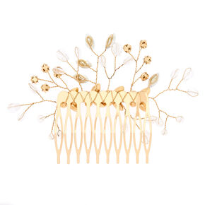 Gold Glass Rhinestone Butterfly Vine Hair Comb - Opal,